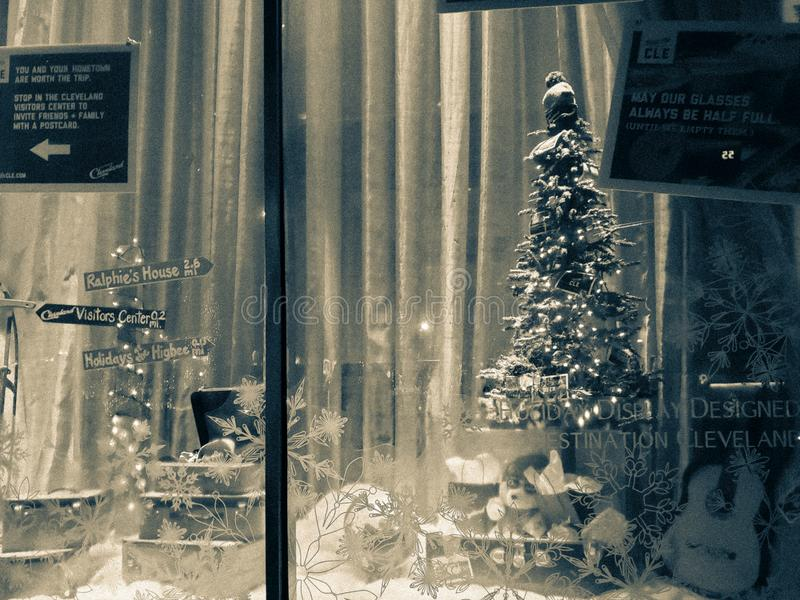 Christmas holiday window display in downtown Cleveland Ohio royalty free stock photos