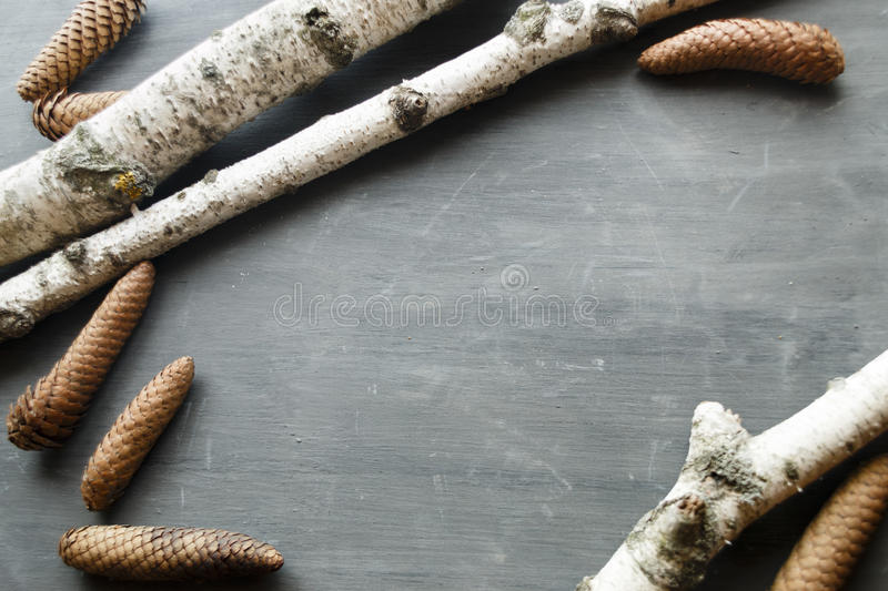 Christmas Holidays Background With Pine Cones and birch. Pine cones and birch on a on vintage table. Christmas Holidays Background royalty free stock photo