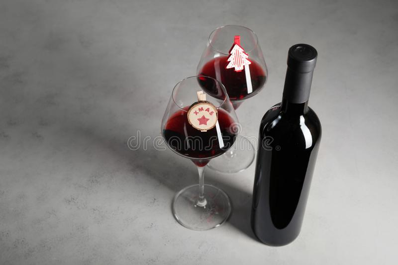 Christmas holidays with a bottle of red wine royalty free stock image