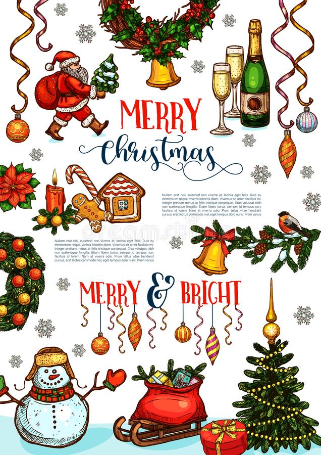 Free Christmas Holidays Celebration Poster Template Stock Images - 102563124