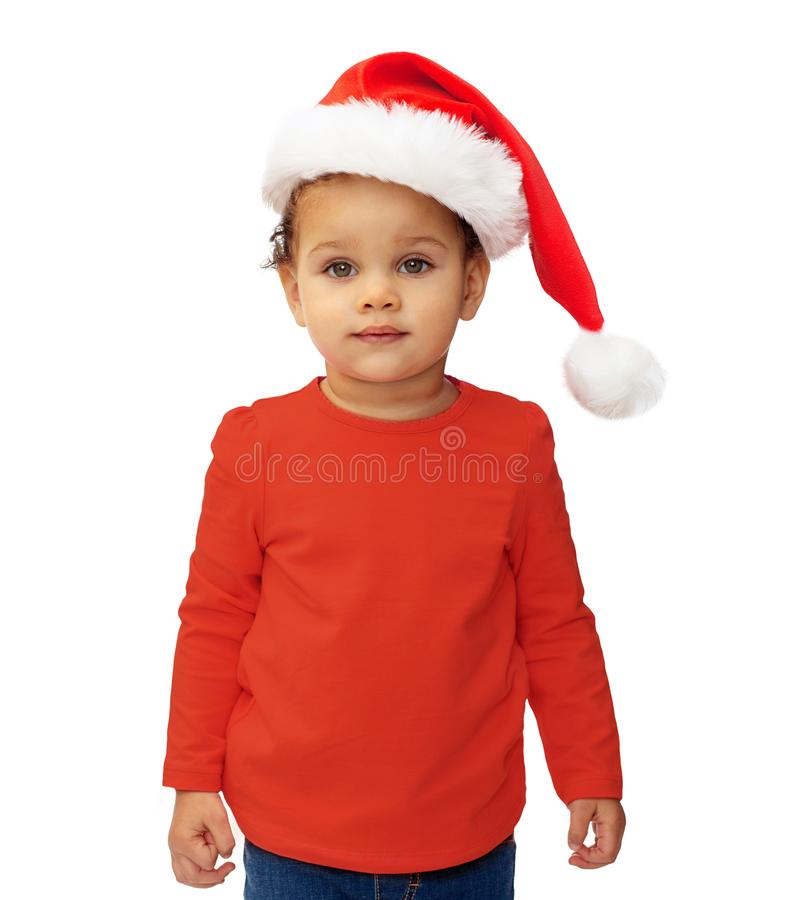 Baby girl in santa hat over white background royalty free stock images