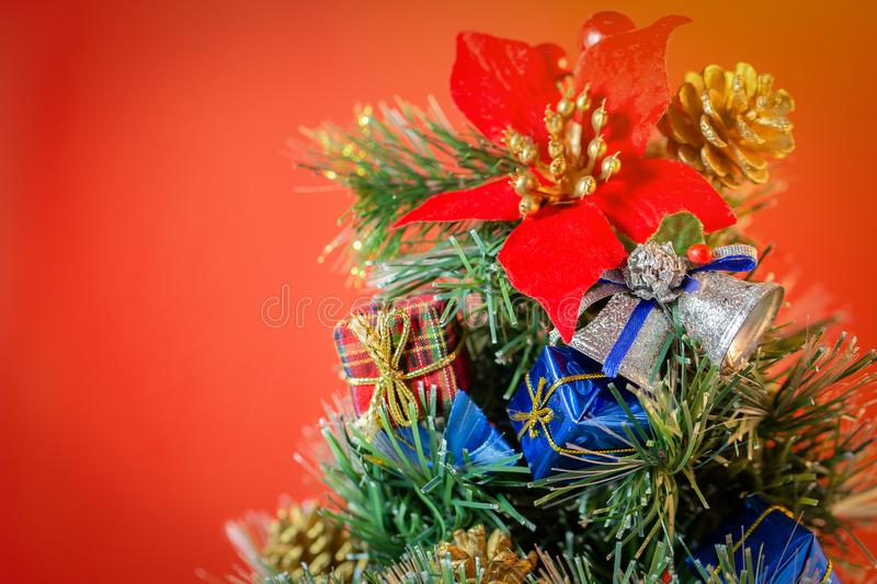 Christmas holidays composition on red background with copy space royalty free stock images