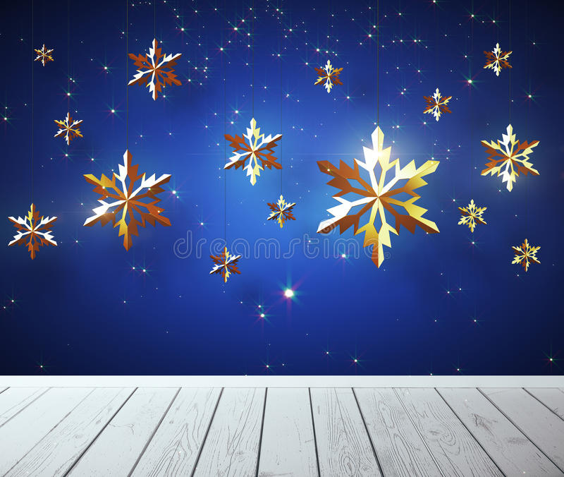Christmas holidays concept. Empty wooden surface and decorative golden snowflakes on blue background. Mock up, 3D Rendering. New Year and Christmas concept stock illustration