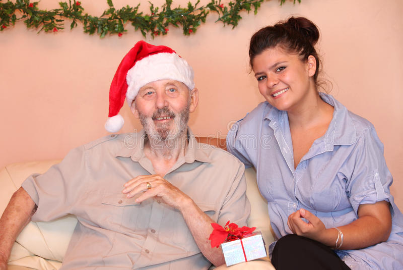 Christmas holidays elderly gift royalty free stock images