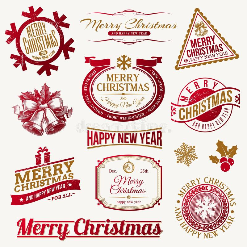 Christmas holidays emblems and labels