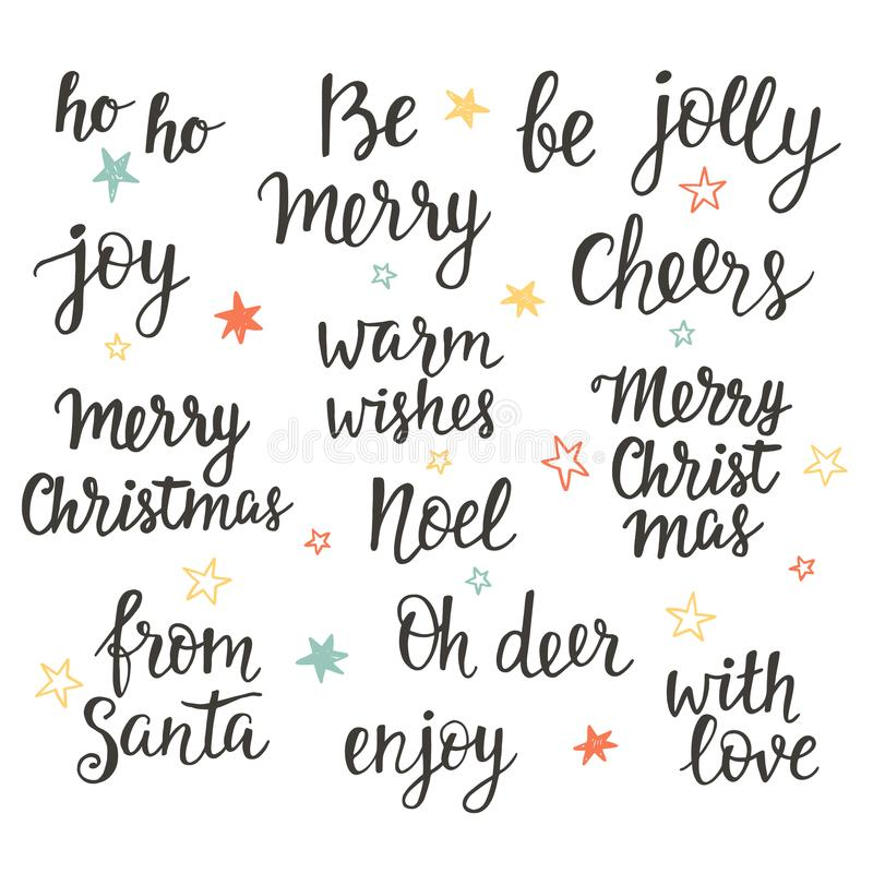 Christmas holidays hand lettering set. Calligraphy phrases collection. Typography design elements for greeting cards, invitations. Vector illustration vector illustration