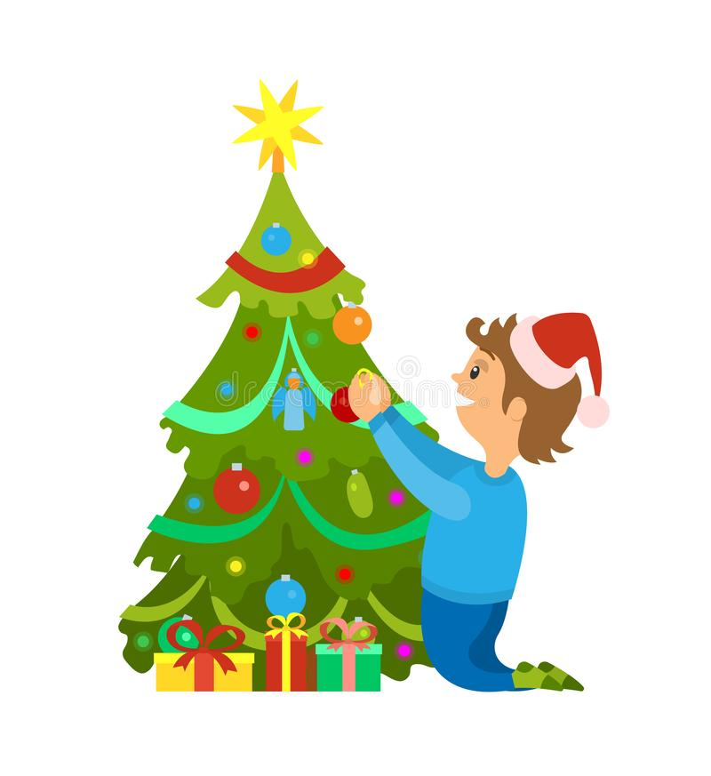 Christmas Holidays, New Years Eve Tree Decoration. With baubles and toys. Man wearing santa claus hat putting balls and garlands on evergreen spruce royalty free illustration