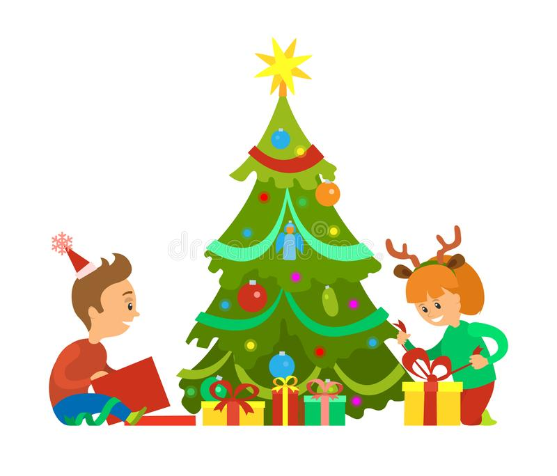 Christmas Holidays, New Years Eve Unpacking Gifts. Christmas holidays, New Years eve children unpacking gifts vector. Decorated evergreen pine tree, boy and girl royalty free illustration
