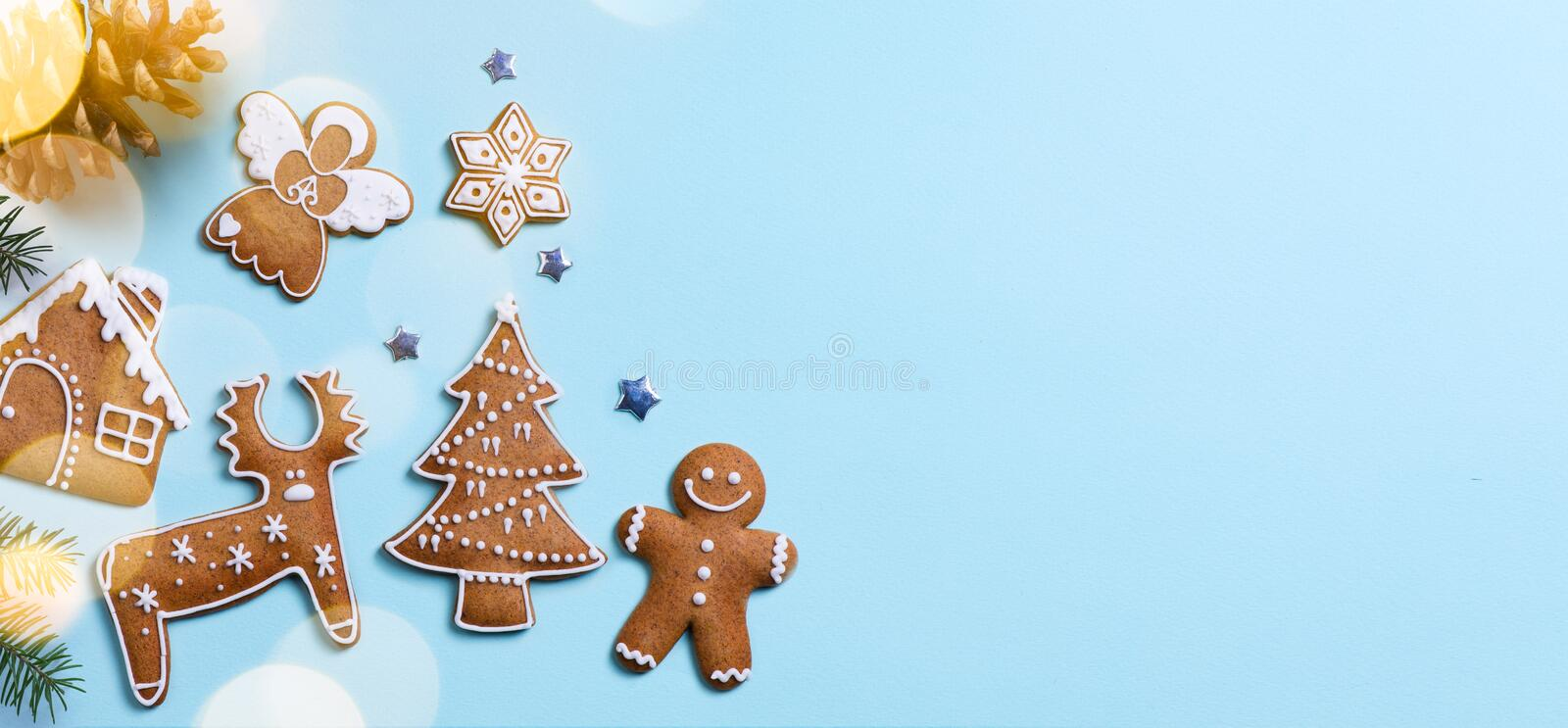 Christmas holidays ornament flat lay; Christmas card background stock image