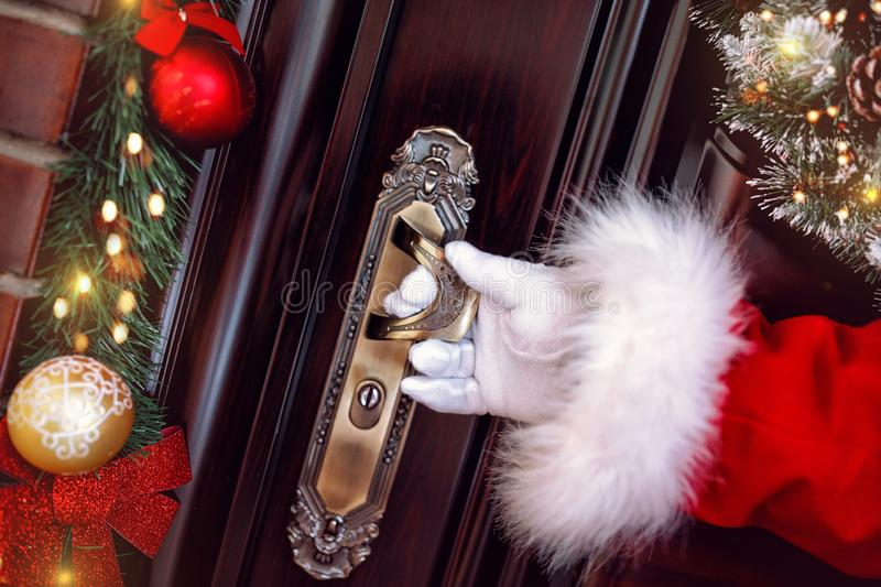 Christmas, holidays and people concept- Arrives Santa Claus royalty free stock photography