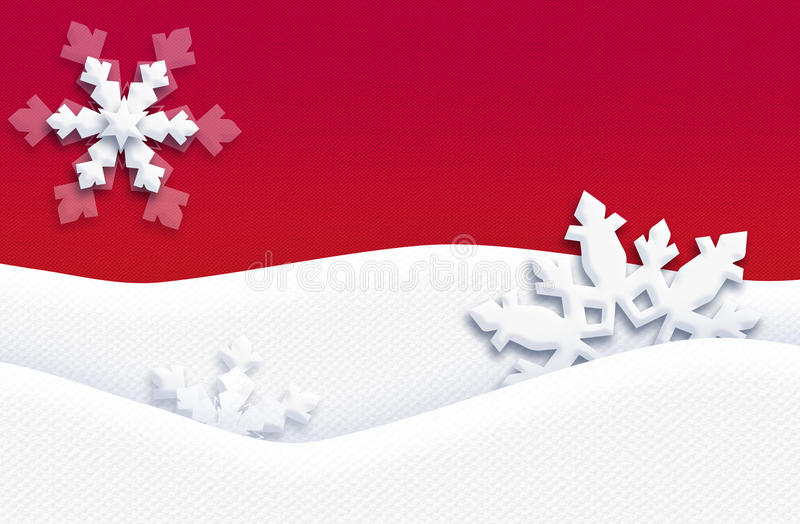 CHRISTMAS Holidays Postcard RED handcraft Art. CHRISTMAS Holidays decoration Postcard with white snowflakes, snowy screen wallpaper, blank page, Winter holiday royalty free stock images