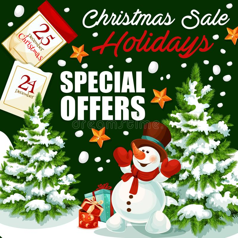 Christmas holiday sale vector shop promo poster vector illustration