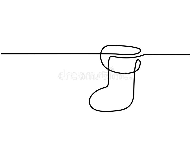 Christmas holidays sock. Continuous line drawing. Vector illustration royalty free illustration