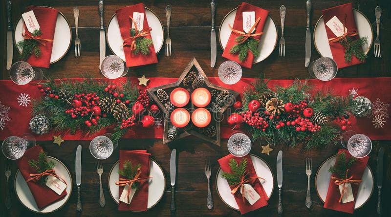 Christmas holidays table setting concept royalty free stock photos