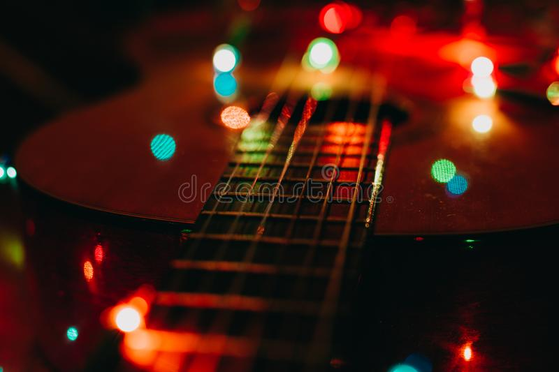 Christmas holidays xmas guitar december background royalty free stock image