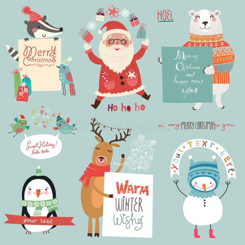 Christmas holidsys set with cute characters stock illustration