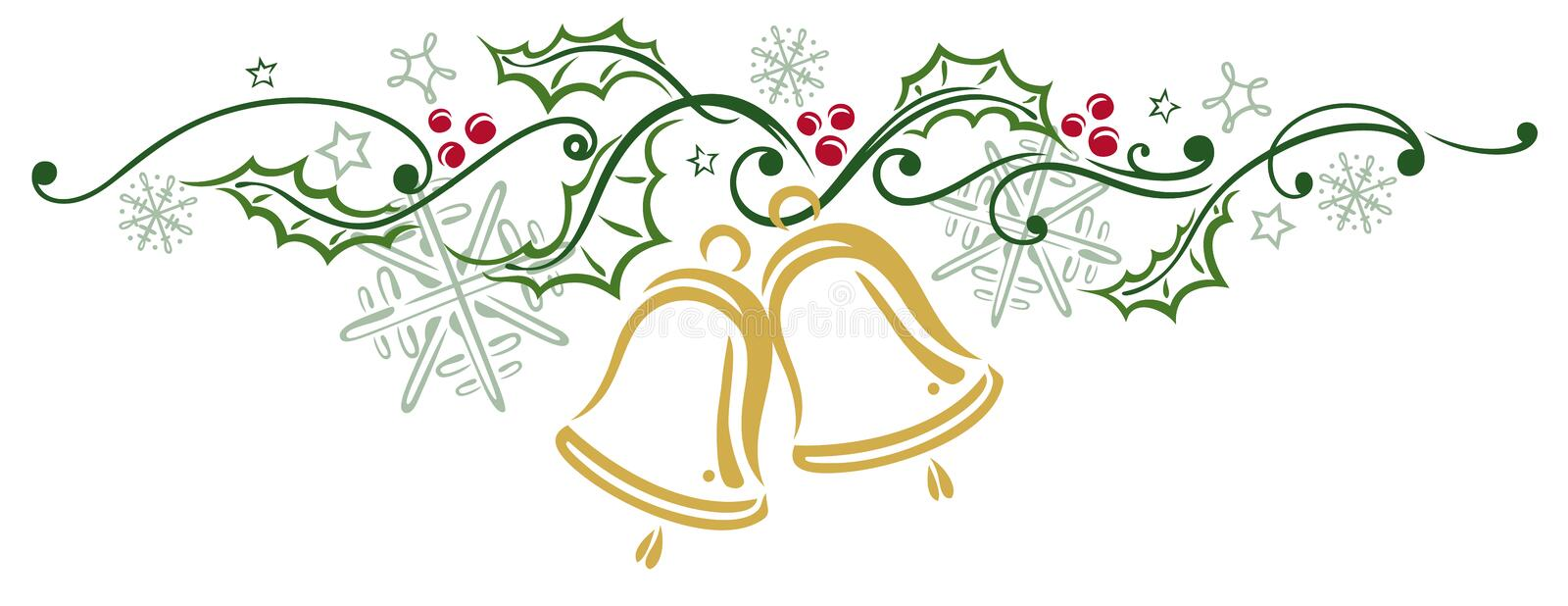 Christmas, holly, bells. Colorful Christmas decoration, christmas bells and holly stock illustration