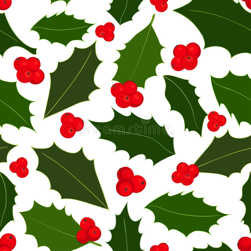 Christmas holly berries seamless pattern. Vector illustration. Seamless pattern. Christmas holly berries on white background. Vector illustration royalty free illustration