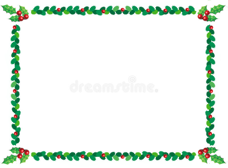 Christmas holly border. Holly christmas border with green leaves and red berries