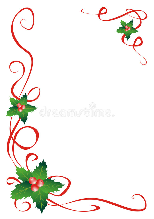 Christmas holly border decoration