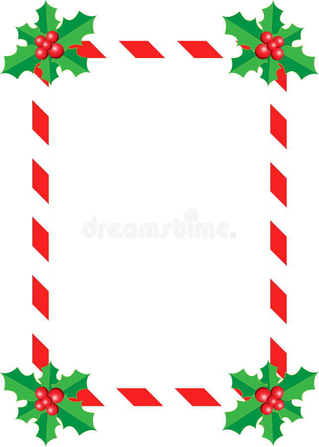 Christmas Holly Border. Christmas border with holly leaves and red berries. Isolated on white royalty free illustration