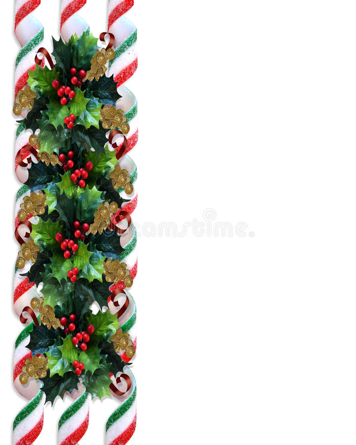Christmas Holly Border with ribbon candy stock illustration