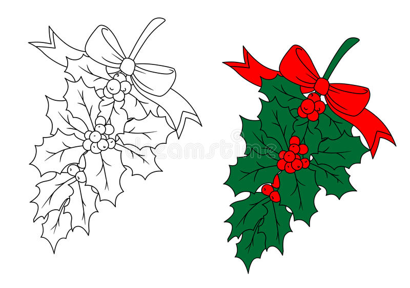 Download Christmas holly branch stock vector. Image of greeting - 33855843