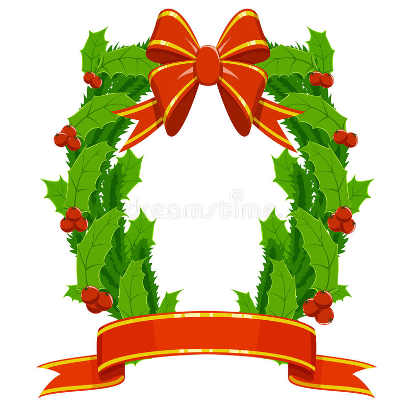 Christmas holly fir garland on white background