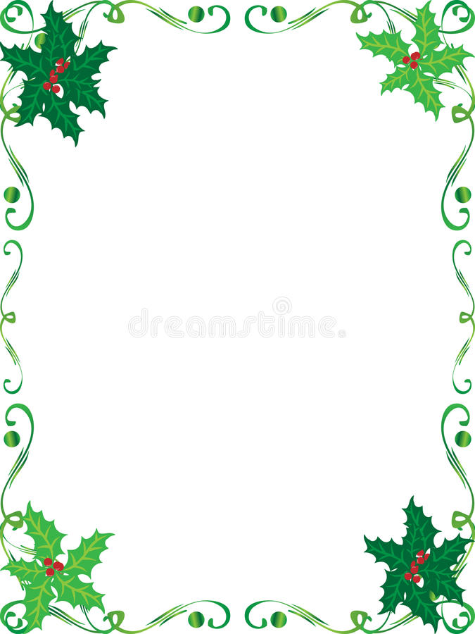 Christmas holly frame. A beautiful Christmas holly frame with holly leaves for background border or frame stock illustration