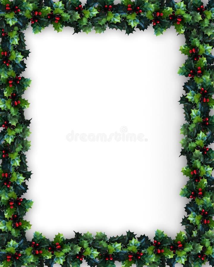 Christmas Holly Frame stock illustration