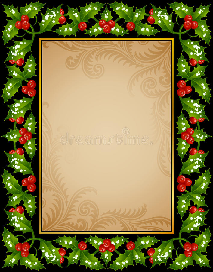 Free Christmas Holly Greeting Card Stock Photography - 16531912