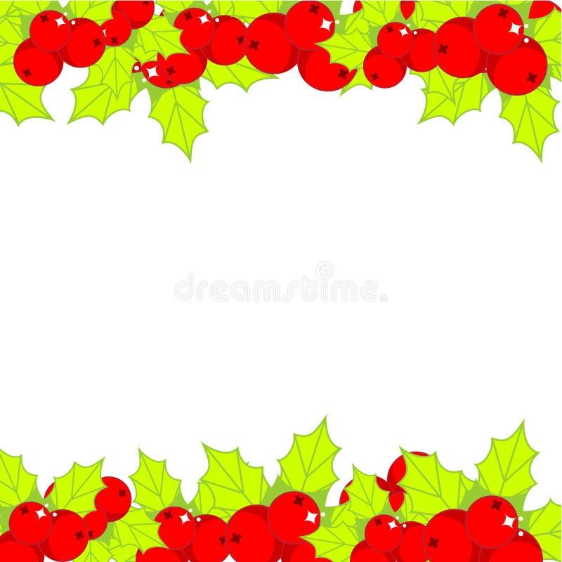 Christmas holly ilex frame. New Year background vector illustration