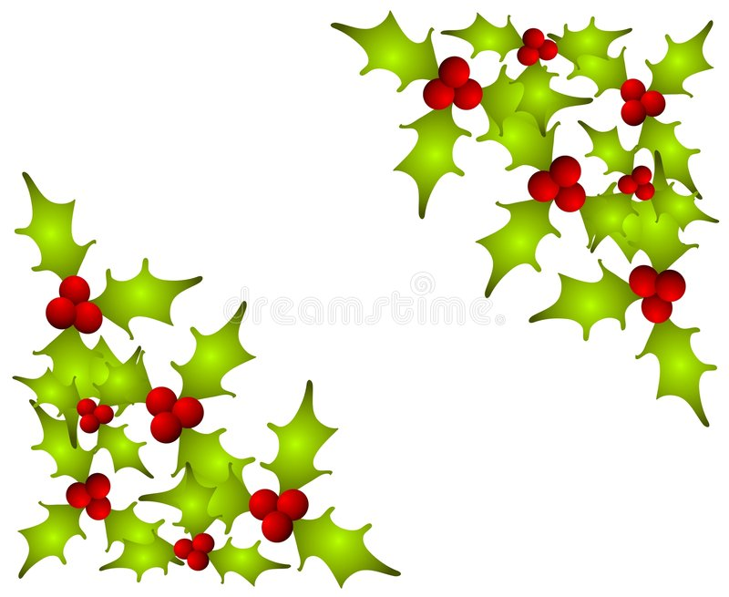 Christmas Holly Leaves Corners Royalty Free Stock Image