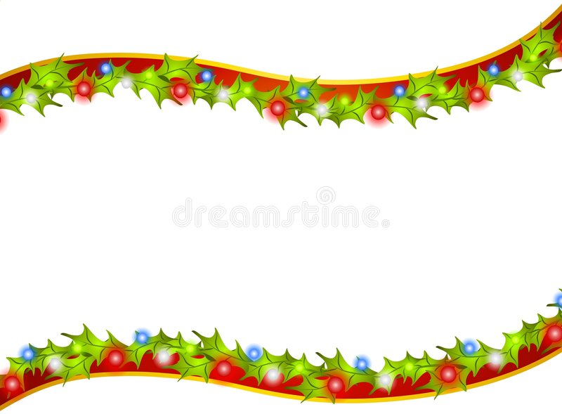 Christmas Holly Lights. A background illustration featuring a swoosh of holly leaves and Christmas lights as a border, frame or background stock illustration