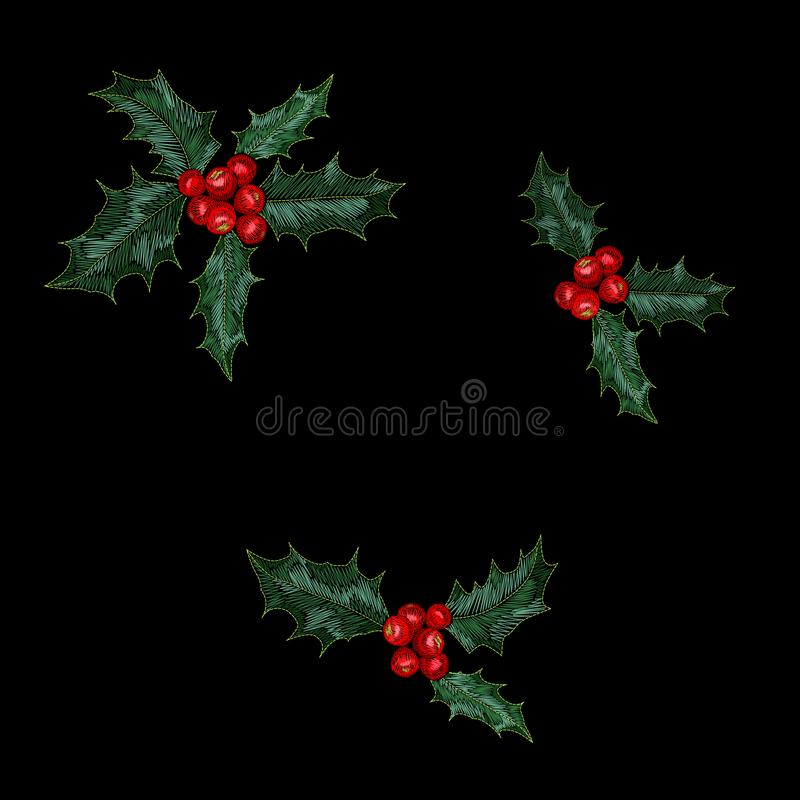 Christmas holly red berry embroidery seamless pattern. New year fashion decoration realistic stitch texture design vector illustration