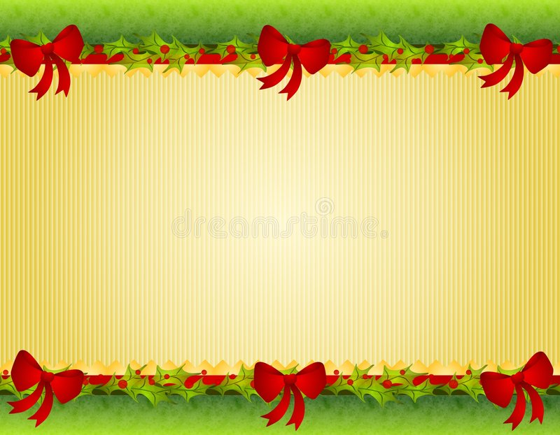 Christmas Holly Red Bows Border stock illustration