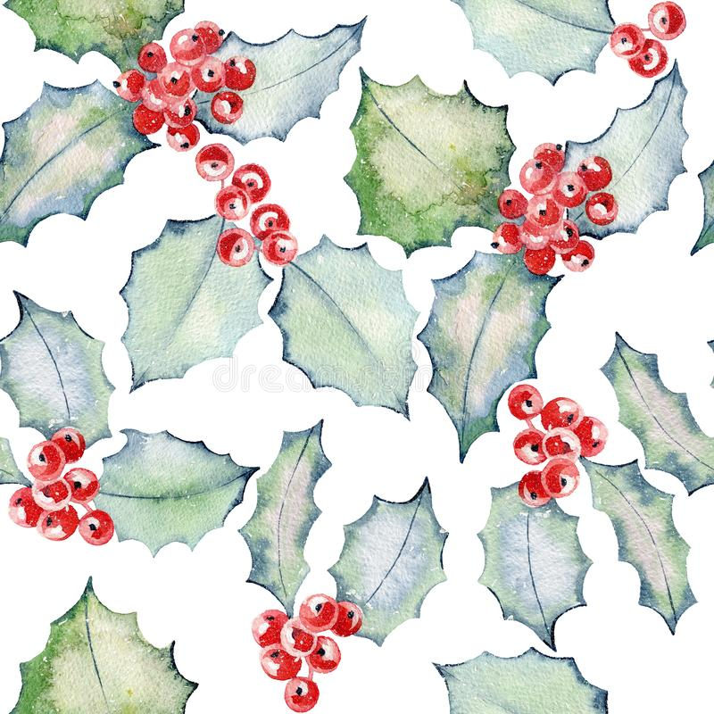 Christmas Holly Watercolor. Christmas Watercolor seamless pattern with holly vector illustration