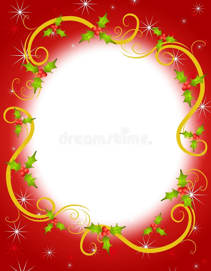 Free Christmas Holly Wreath Frame 2 Stock Photo - 6040440