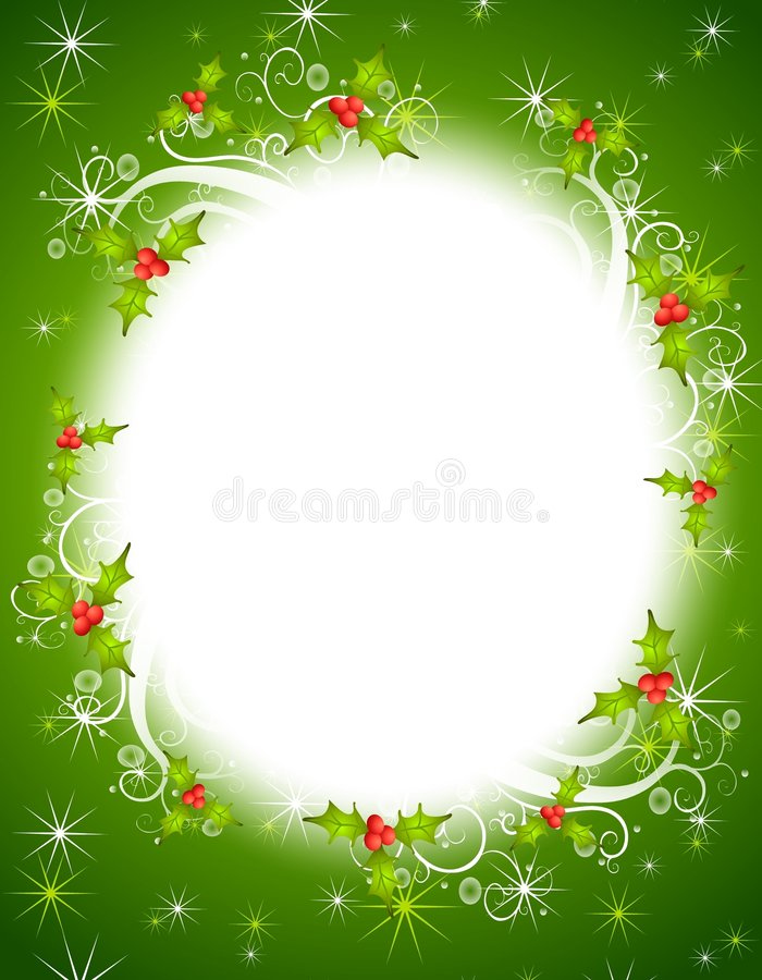 Free Christmas Holly Wreath Frame Royalty Free Stock Images - 6040439