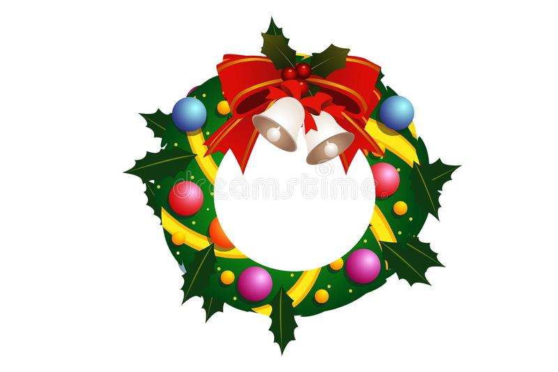 Christmas holly wreath with silver bells and red bow on white background. Illustration stock illustration