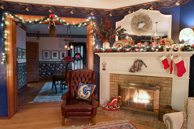 Christmas home interior hdr stock photo image 63975848 - Living room dining room with fireplace ...
