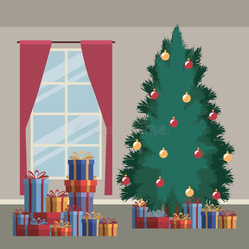 Christmas home scene with window background and big christmas tree and gifts royalty free illustration