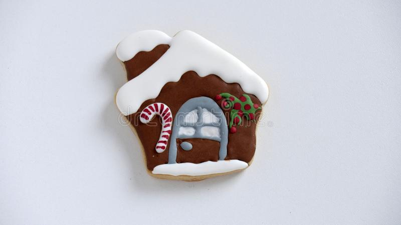 Christmas homemade cookie, Santas House, gingerbread on white background stock photography