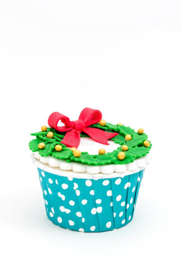 Christmas homemade cupcakes isolated on white background royalty free stock image