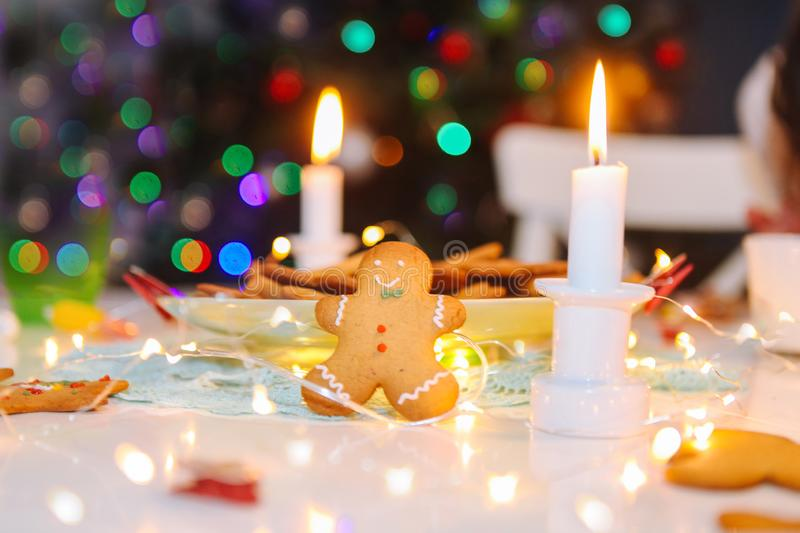 Christmas homemade gingerbread classic cookies on table with christmas decoration stock photography
