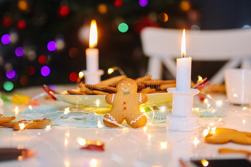 Christmas homemade gingerbread classic cookies on table with christmas decoration royalty free stock images