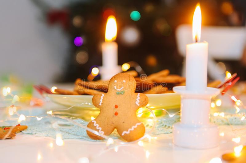 Christmas homemade gingerbread classic cookies on table with christmas decoration royalty free stock photo