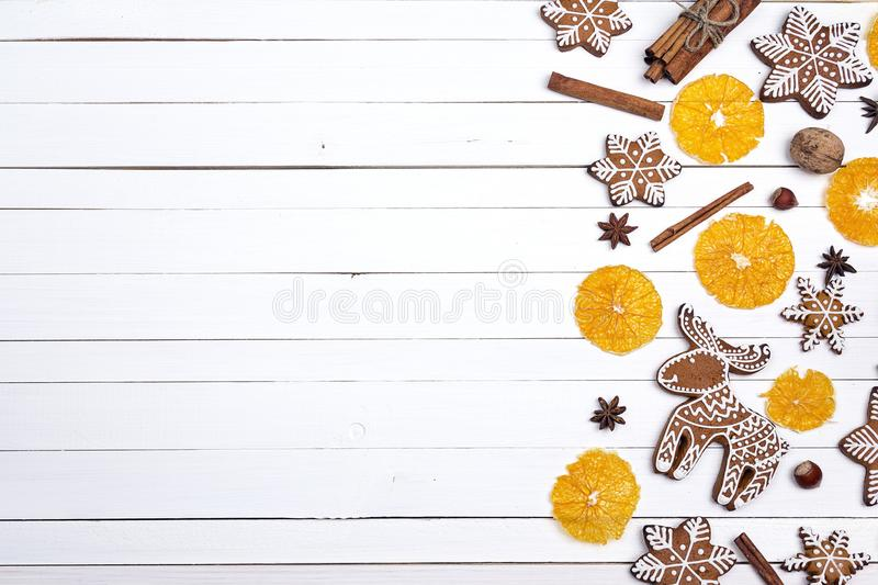 Christmas homemade gingerbread cookies with orange and spices on stock images