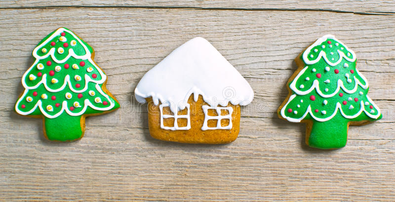 Christmas homemade gingerbread cookies over wooden stock image