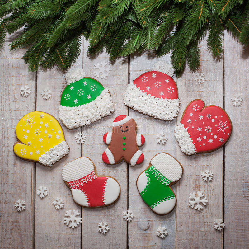 Christmas homemade gingerbread cookies on table, new year royalty free stock photos